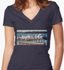 A Gathering Of Gulls  Women's Fitted V-Neck T-Shirt