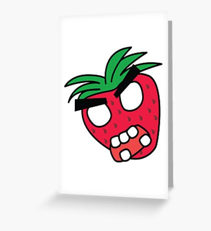 angry zombie strawberry Greeting Card