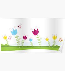 Tulips. Spring flowers. Vector Illustration. Poster