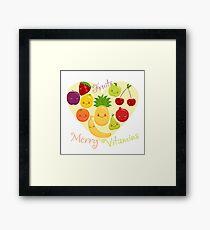 Vector image of fruit, funny cute vitamins. Framed Print