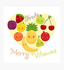 Vector image of fruit, funny cute vitamins. Photographic Print