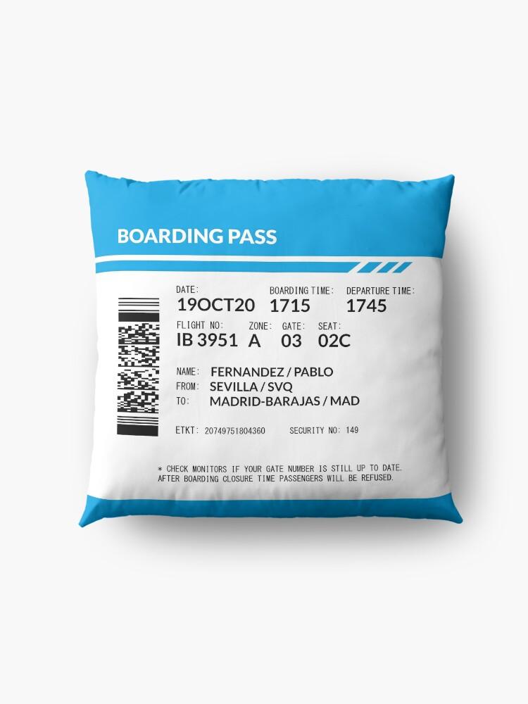 Alternate view of Boarding Pass (blue) Floor Pillow