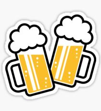 2 Clinking Beer Glasses For A Cheer! Sticker