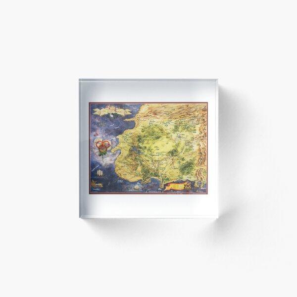 Wheel of time world map fantasy art design Robert jordan Acrylic Block