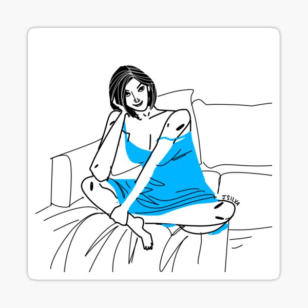 Girl in blue dress Pegatina