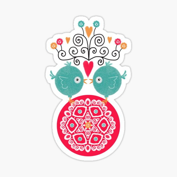 curly whirly lovebirds with heart flowers Sticker