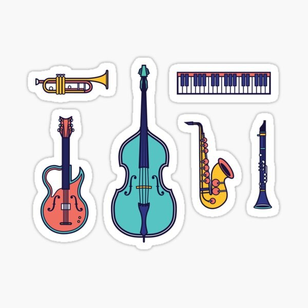 Jazz Instruments Glossy Sticker