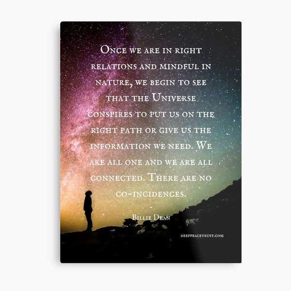 """""""Once we are in right relations and mindful in nature..."""" — Billie Dean Metal Print"""