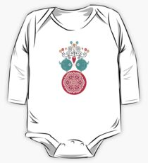 curly whirly lovebirds with heart flowers One Piece - Long Sleeve