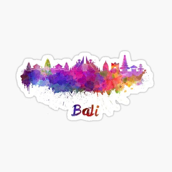 Bali skyline in watercolor Sticker