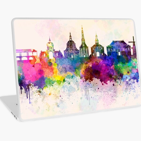 Leiden skyline in watercolor background Laptop Skin