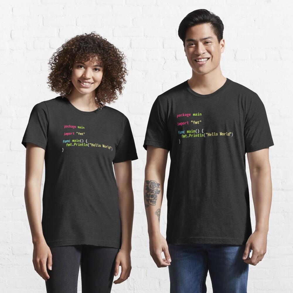 Hello World Go Code - Dark Syntax Scheme Coder Design Essential T-Shirt