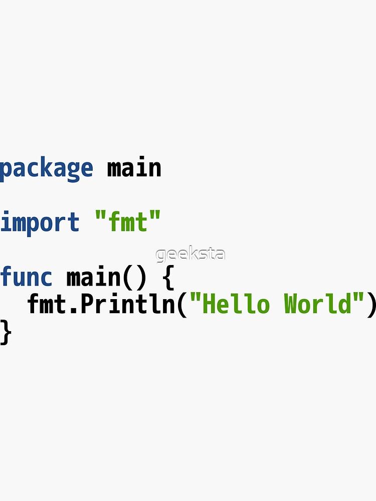 Hello World Go Code - Light Syntax Scheme Coder Design by geeksta