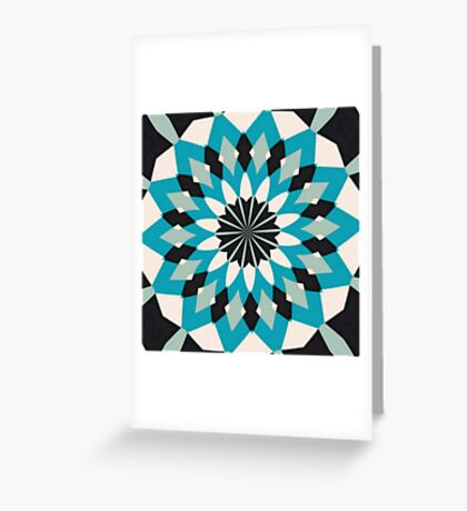 Teal Blue, Grey and White Floral Abstract Greeting Card