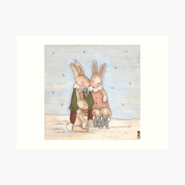 Snuggle Family Art Print