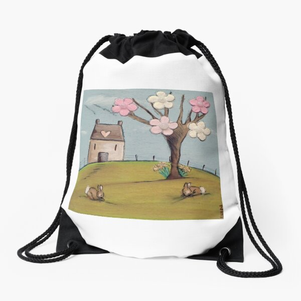 Spring Rabbits Drawstring Bag