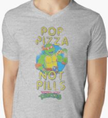 Pop Pizza Not Pills Men's V-Neck T-Shirt