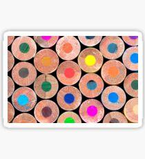 Close up macro shot of colouring pencils Sticker