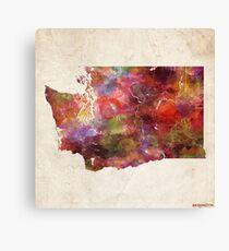 Washington map warm colors Canvas Print