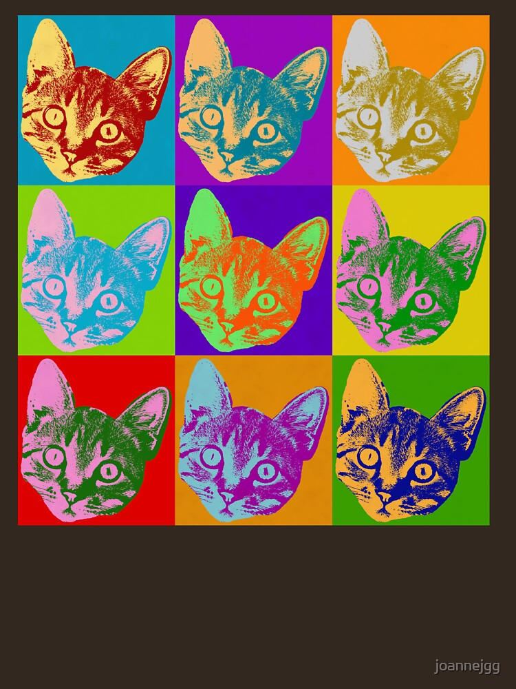 cat pop art inspired graphic cats kitty bright color design unisex
