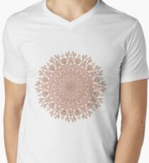Rose Gold Beige Mandala Mens V-Neck T-Shirt