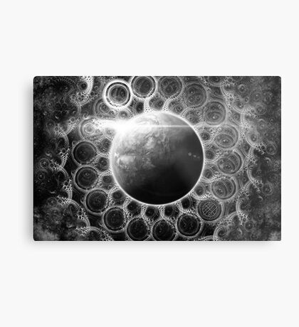 Psychedelic Black and White Fractal Mandala of Kepler-62e (w Deep Dreams) Metal Print