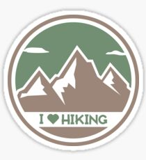 I Love Hiking Mountain Logo Sticker