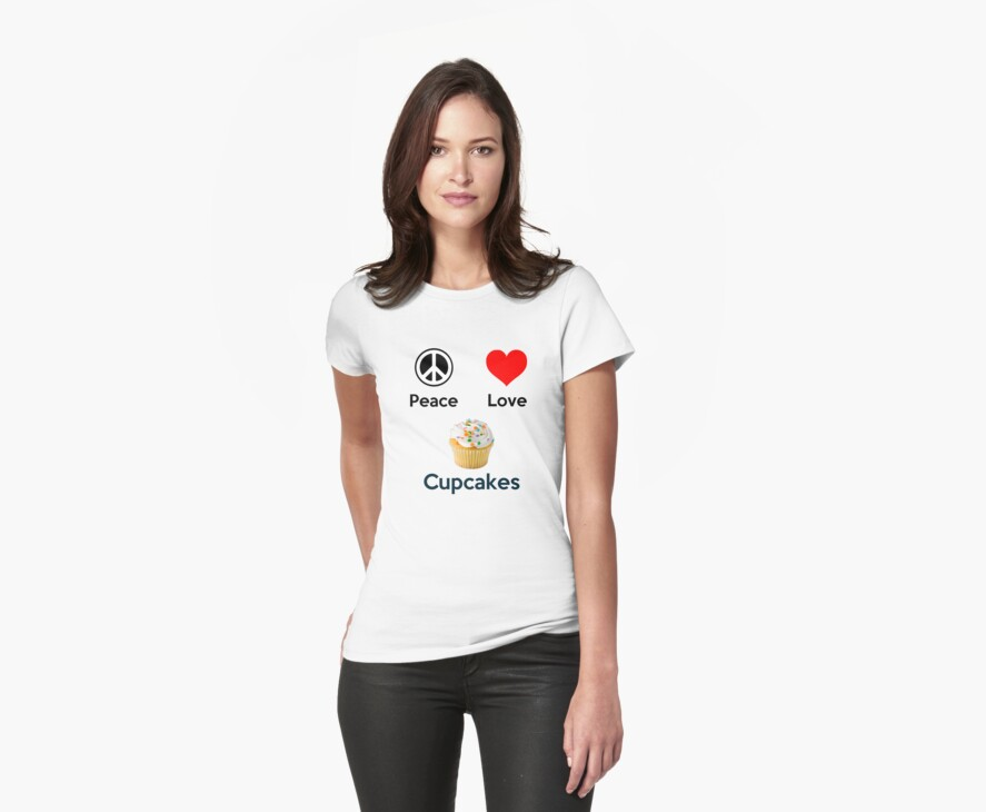 Peace Love & Cupcakes (Clothing & Stickers ) by PopCultFanatics