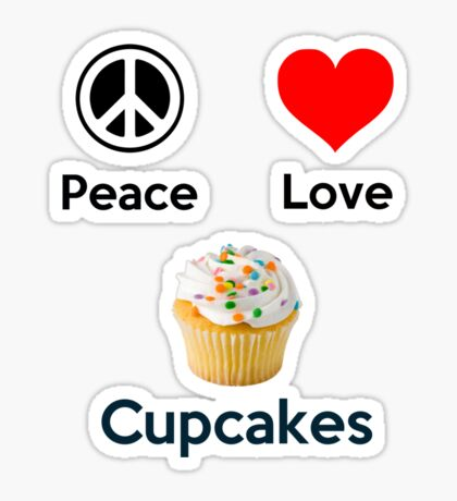 Peace Love & Cupcakes (Clothing & Stickers ) Sticker