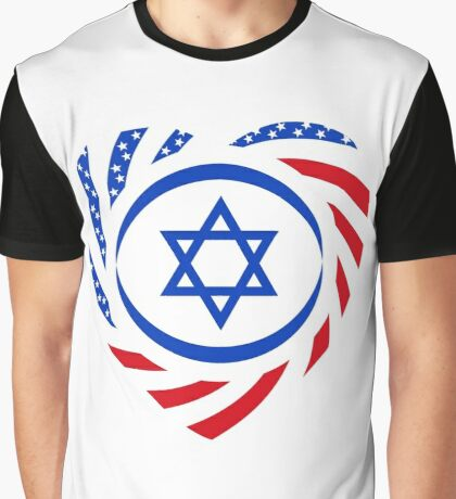 Israeli American Multinational Patriot Flag (Heart) Graphic T-Shirt