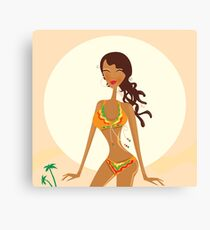 Bikini raggae girl. Young exotic girl in raggae style on beach Canvas Print