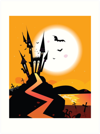 Haunted Castle. Bats over spooky Castle. Vector Illustration. by Bee and Glow Illustrations Shop