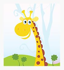 African Giraffe. Vector Illustration of funny animal. Photographic Print