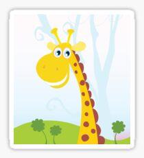 African Giraffe. Vector Illustration of funny animal. Sticker