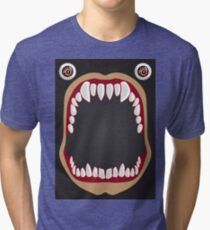 Open mouth on a black background Tri-blend T-Shirt