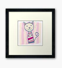 Pink kitten. Stripped small cute baby kitten Framed Print