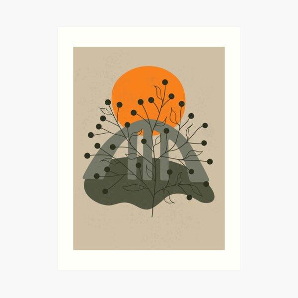 Minimalist landscape art with a bridge and an orange sun Art Print