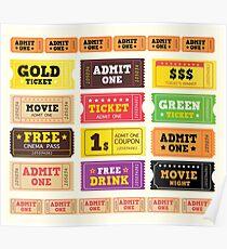Vector Illustration. Vintage cinema tickets. BIG COLLECTION Poster