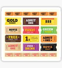 Vector Illustration. Vintage cinema tickets. BIG COLLECTION Sticker