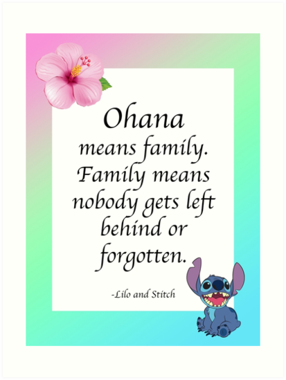 Ohana Means Family Lilo And Stitch Art Prints By Alyssacutting