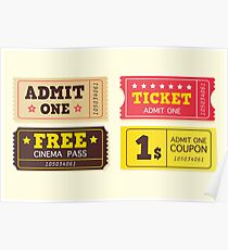 Vintage cinema tickets. On movie or to Theatre? Use my tickets Poster