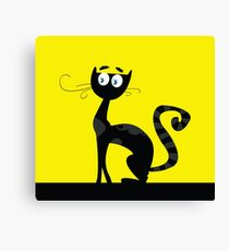 Black cat. Black silhouette of cat isolated on color background Canvas Print