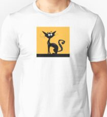 Black cat. Black silhouette of cat isolated on color background T-Shirt