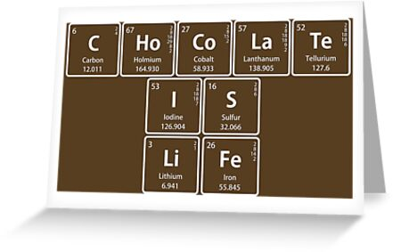 Chocolate is life in periodic table symbols greeting cards by chocolate is life in periodic table symbols by sciencenotes m4hsunfo