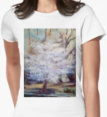 FUMC Cherry Trees, oil on canvas Womens Fitted T-Shirt