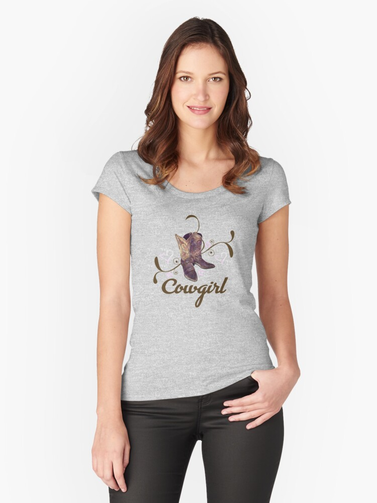 Cowgirl with Boots Women's Fitted Scoop T-Shirt Front