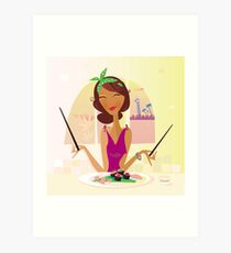 Exotic food Sushi. Girl with sushi in attractive japanese restaurant Art Print