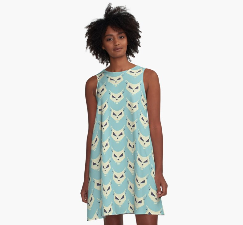A-line dress with a pattern in pastel tones made of cat skulls with heart shaped noses.
