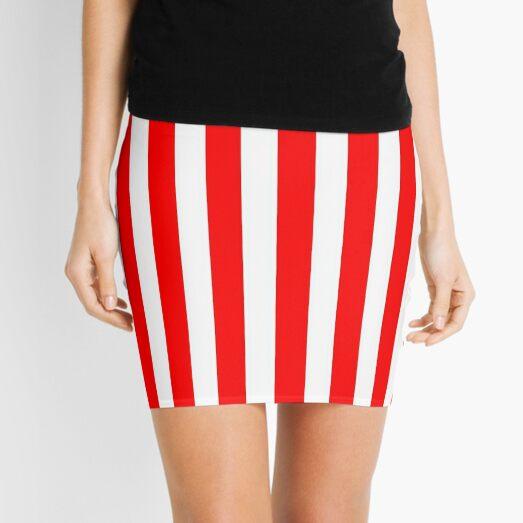 Red Vertically-Striped Mini Skirt