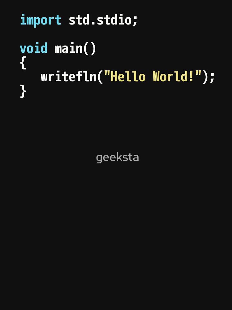 Hello World D Code - Dark Syntax Scheme Coder Design by geeksta